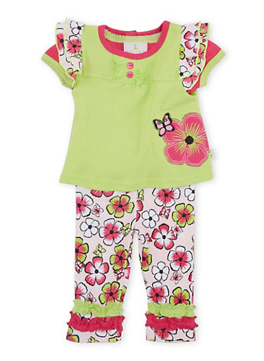 Baby Girl Top and Bodysuit with Leggings 3-Piece Set,LIME,large