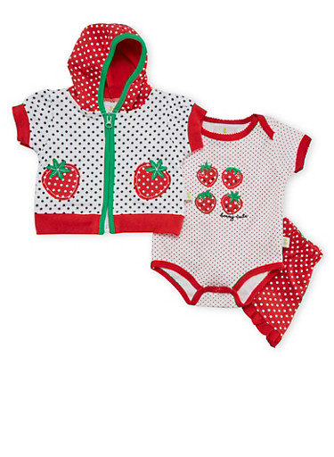 Baby Girl Printed 3-Piece Set,RED,large