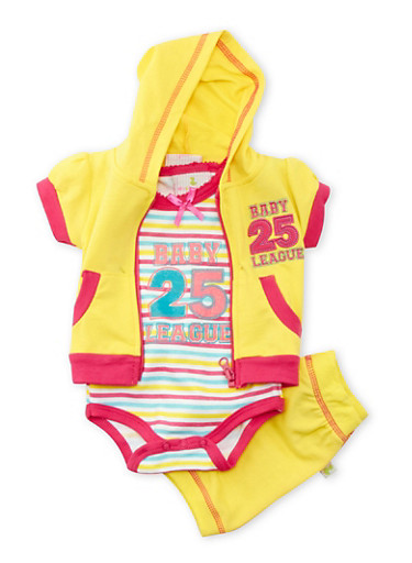 Baby Girl Glitter Striped Bodysuit Hoodie and Shorts with Baby League 25 Print,YELLOW,large