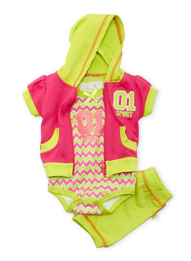 Baby Girl Hoodie and Graphic Bodysuit with Joggers Set,FUCHSIA,large
