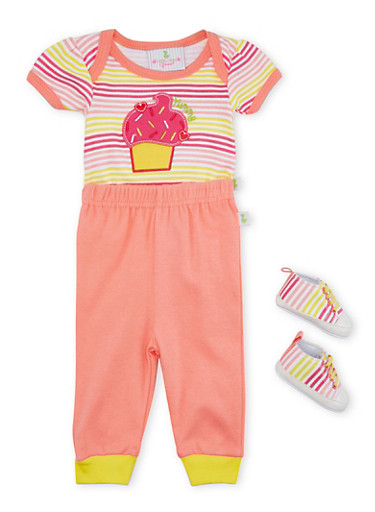 Baby Girl Bodysuit and Joggers with Slip-On Shoes,CORAL,large