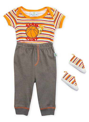 Baby Boy Printed Bodysuit and Joggers with Sneakers Set,GREY,large