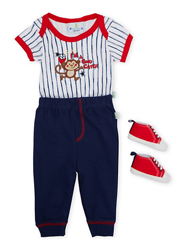 Baby Boy Bodysuit with Joggers and Slip-On Shoes,NAVY,large