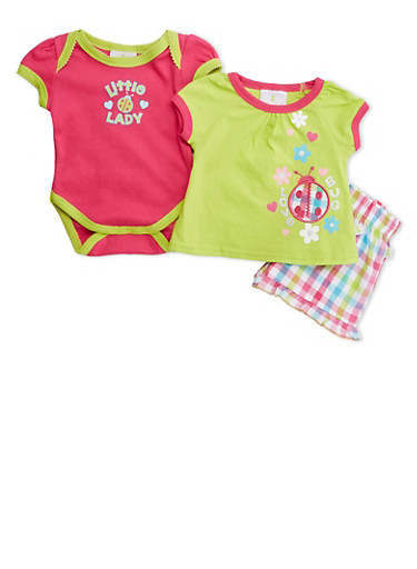 Baby Girl Bodysuit and Graphic Tee with Plaid Shorts Set,LIME,large