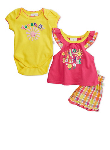 Baby Girls Bodysuit with Top and Shorts Set,FUCHSIA,large