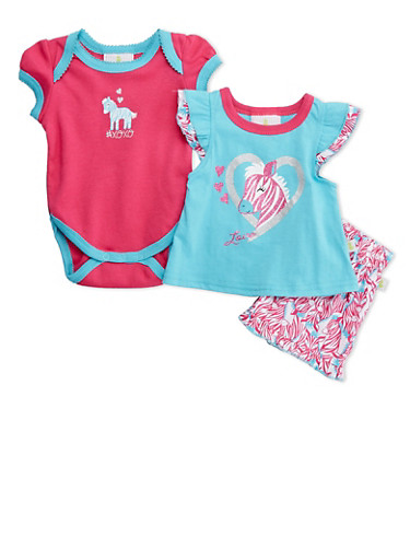 Baby Girl Bodysuit and Graphic Top with Printed Shorts Set,TURQUOISE,large
