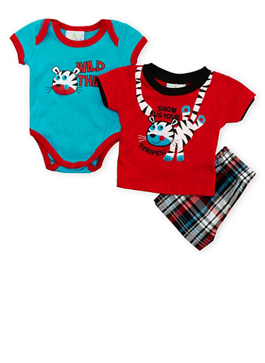 Baby Boy Wild Thing Bodysuit with T-Shirt and Plaid Shorts Set,RED,large