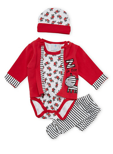 Baby Boy 4 Piece Set,RED,large