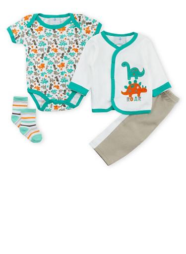 Baby Boy Dinosaur Bodysuit, Sweater, Pants and Socks Set,WHITE,large