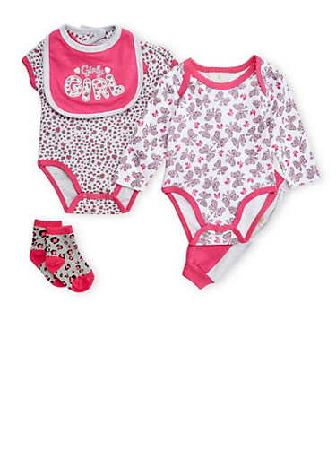 Baby Girl 5 Piece Set of 2 Bodysuits with Joggers Bib and Socks,PINK,large