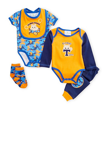 Baby Boy 5 Piece Set of 2 Bodysuits with Joggers Bib and Socks,NAVY,large