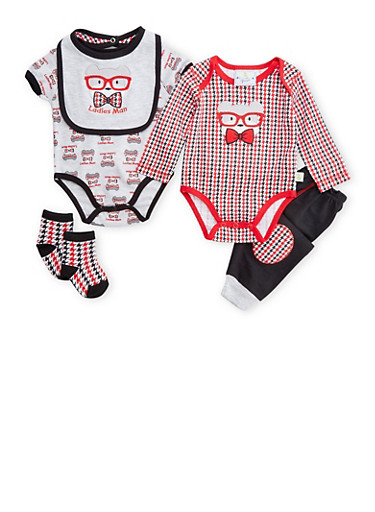 Baby Boy 5 Piece Set of 2 Bodysuits with Joggers Bib and Socks,BLACK,large