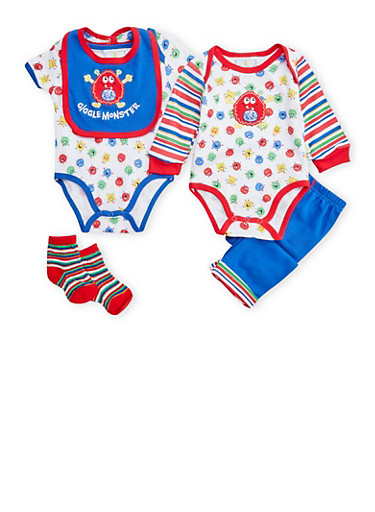 Baby Boy 5 Piece Set of 2 Bodysuits with Joggers Bib and Socks,ROYAL,large