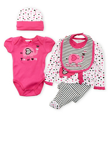 Baby Girls Five Piece Set with Tons of Love Elephant Print,FUCHSIA,large