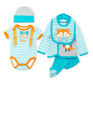 Baby Boy Striped 5 Piece Layette Set with Fox Print,TURQUOISE,large