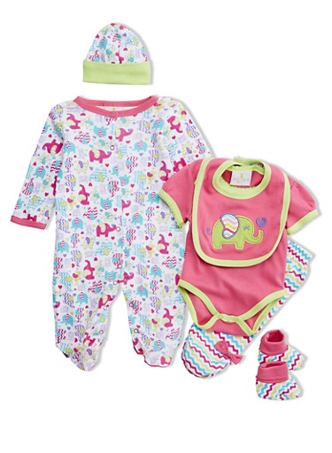 Baby Girl 6-Piece Set in Elephant Print,PINK,large