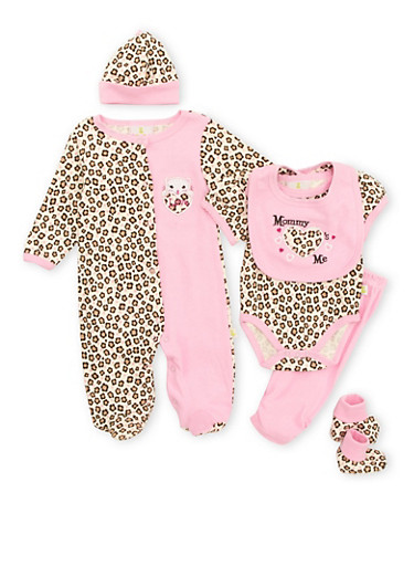 Baby Girl Assorted 6-Piece Set in Animal Print,PINK,large