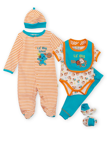 Baby Boy Assorted 6-Piece Set,TURQUOISE,large