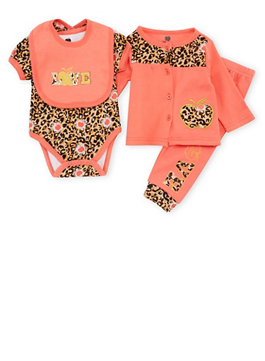 Baby Girl Apple Bottoms Outfit Set,PINK,large