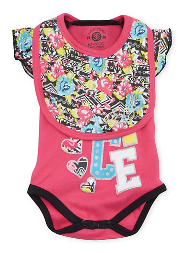 Baby Girl Enyce Bodysuit and Joggers with Matching Bib,FUCHSIA,large