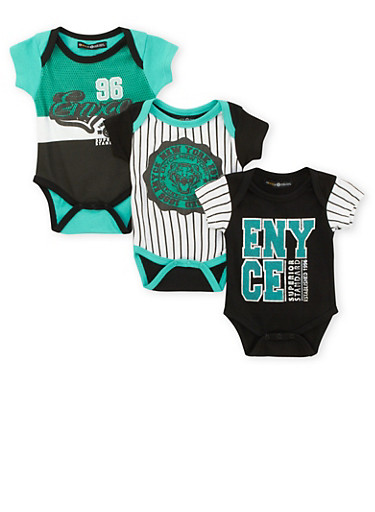 Baby Boy Enyce Set of 3 Bodysuits,BLACK,large