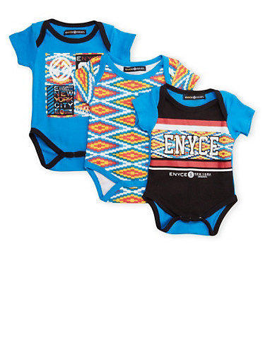 Baby Boy Enyce Bodysuit 3-Pack with Aztec Print,ROYAL,large