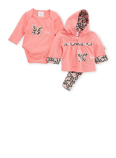 Baby Girl Love Bug Butterfly Print Three-Piece Set,CORAL,large