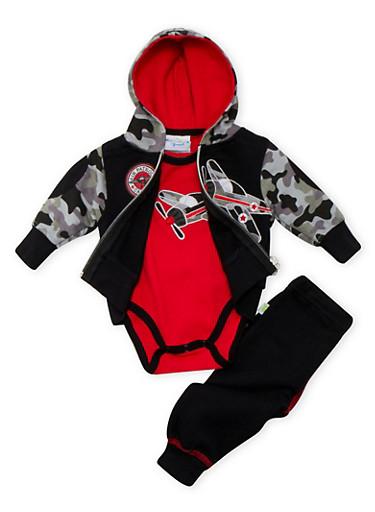 Baby Boy Bodysuit Hoodie and Joggers Set,BLACK,large