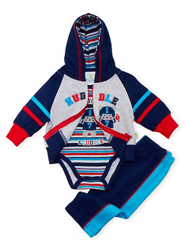 Baby Boy Hoodie and Bodysuit with Pants Set,NAVY,large