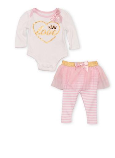Baby Girl Love Graphic Bodysuit with Tutu Leggings Set,PINK,large