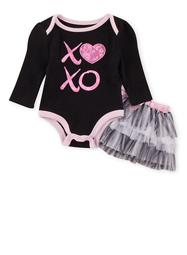 Baby Girl XO Print Bodysuit and Tutu Set,BLACK,large