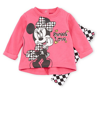Baby Girl Minnie Mouse Graphic Sweatshirt with Leggings Set,FUCHSIA,large