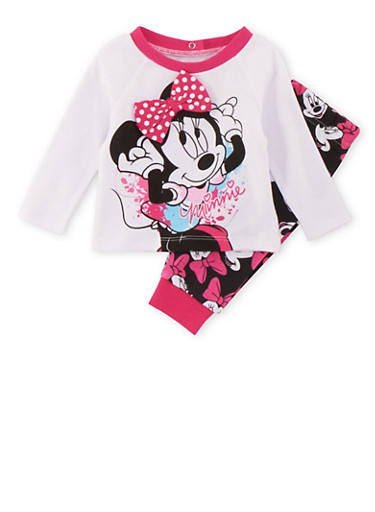 Baby Girl Minnie Mouse Long Sleeve Top and Bottom Set,WHITE,large