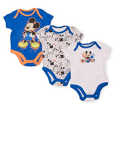 Baby Boy Set of 3 Bodysuits with Mickey Mouse Prints,ROYAL,large
