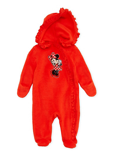 Baby Girl Fleece Footed Bodysuit with Minnie Mouse Graphic,RED,large