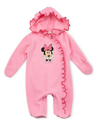 Baby Girl Fleece Footed Bodysuit with Minnie Mouse Design,PINK,large