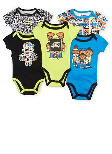 Baby Boy Trukfit Five-Piece Bodysuit Set,BLACK,large