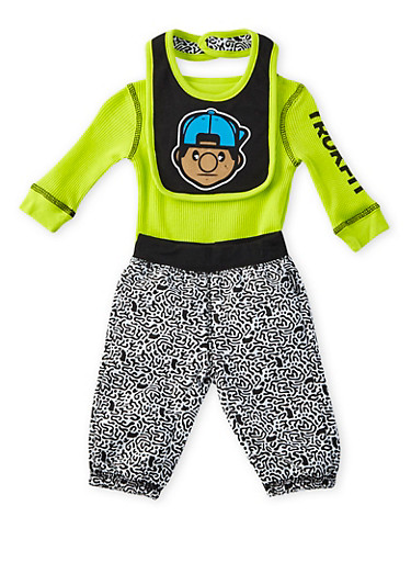 Baby Boy Trukfit Three-Piece Bodysuit and Joggers with Bib Set,LIME,large