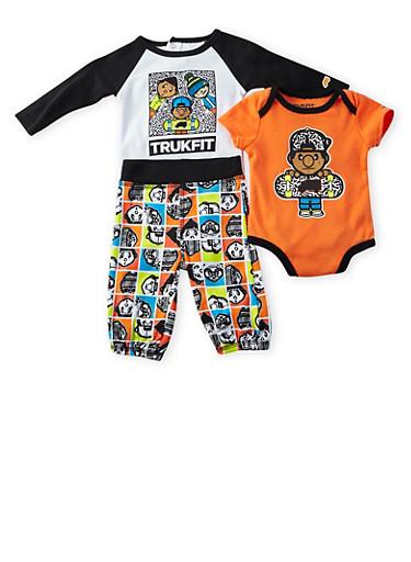 Baby Boy Trukfit Graphic Bodysuits with Logo Print Pants,ORANGE,large