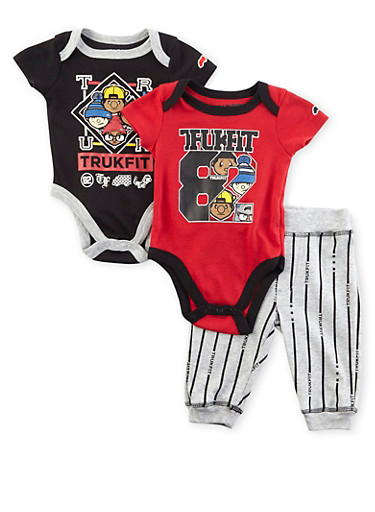 Baby Boy Trukfit Three-Piece Bodysuits and Joggers Set,BLACK,large