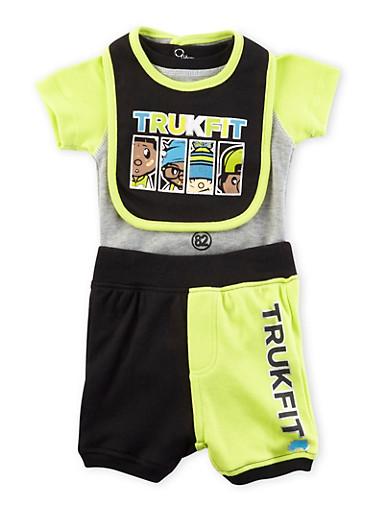 Baby Boy Trukfit Three-Piece Bodysuit and Joggers with Bib Set,BLACK,large