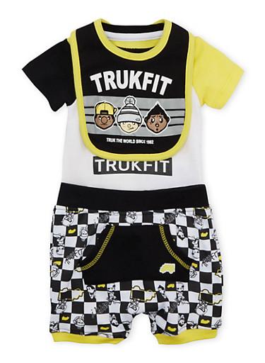 Baby Boy Trukfit Bodysuit Shorts and Bib Set,BLACK,large