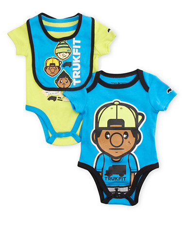 Baby Boy Trukfit Three-Piece Bodysuits and Joggers with Bib Set,TURQUOISE,large