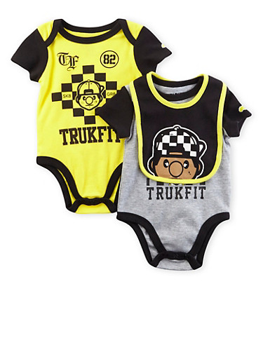 Baby Boy Trukfit Set of Two Bodysuits and Bib,YELLOW,large