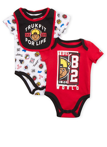 Baby Boy Trukfit Set of Two Bodysuits and Bib,RED,large