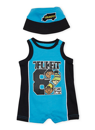 Baby Boy Trukfit Graphic Bodysuit with Hat Set,TURQUOISE,large