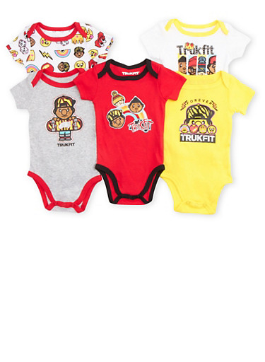 Baby Boy Trukfit Bodysuit 5 Pack with Assorted Graphics,WHITE,large