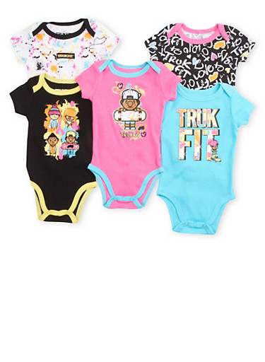 Baby Girl Trukfit 5 Pack Bodysuits with Assorted Glitter Graphics,FUCHSIA,large