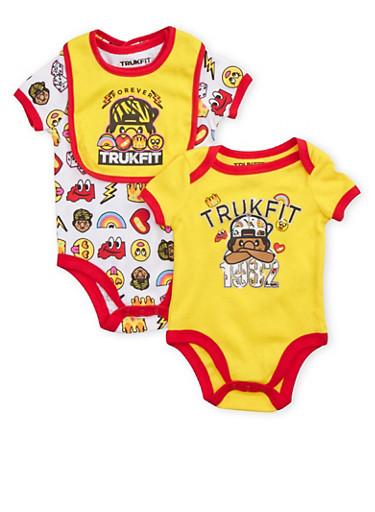 Baby Boy Trukfit Bodysuit 2 Pack with Bib Set,YELLOW,large