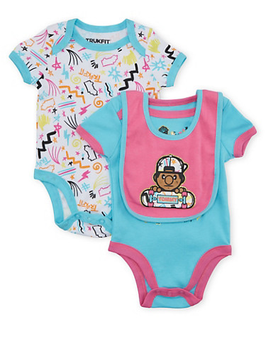 Baby Girl Trukfit Set of 2 Bodysuits with Bib and Doodle Print,TURQUOISE,large